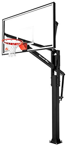 Goalrilla FT72 Basketball Hoop with Tempered Glass Backboard, Black Anodized Frame, and In-ground Anchor System (Basketball 72 Hoop)
