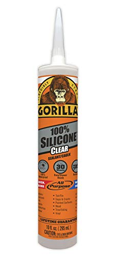 Gorilla Clear 100 Percent Silicone Sealant Caulk, Waterproof and Mold & Mildew Resistant, 10 ounce Cartridge, Clear, (Pack of 1) (Best Caulk Gun For Silicone)