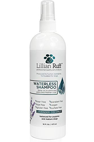 (Lillian Ruff Waterless Dog Shampoo - No Rinse Quick Dry Shampoo Spray for Dogs and Cats - Tear Free Lavender Coconut Scent to Deodorize Pet Odor and Freshen Coat - Made in USA)