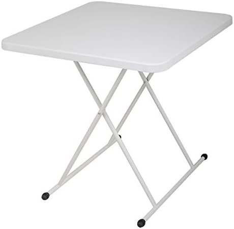 """BWM.Co 30"""" x 30"""" Modern Square Plastic Folding Table Desk with X-Frame Legs for Indoor Outdoor Gathering, Height Adjustable, White"""