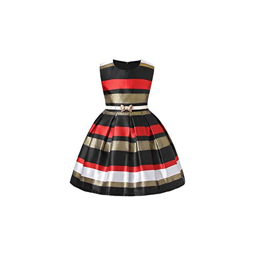 (Girl Costume Pleated Children Striped Sleeveless Princess Party 3-8 Years,Black,3T)