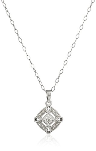 Sterling Silver Diamond-Accent Pave Square Pendant Necklace, 18