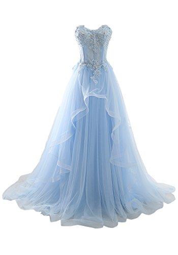 Herzform Abendkleider Romantisch Blau Lang Ballkleider Hochzeitskleid Ivydressing Spitze Damen 4qCTEZw