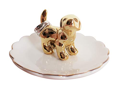 (Luxury Porcelain Adorable Dog Ring Holder, Ceramic Jewelry Tray, Bracelets Plate, Dessert Dish - Perfect for Holding Small Jewelries, Rings, Necklaces, Earrings, Bracelets, Trinket etc.)