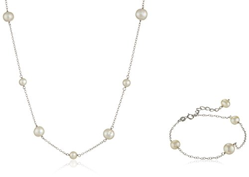 Sterling Silver White Freshwater Cultured Pearl Necklace and Bracelet Set (6-8mm)
