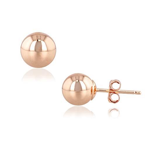 (R&R 14k Rose Gold Ball Earrings with Push Backs (Rose Gold,)