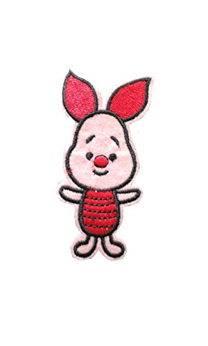 PIG Iron On Patch Applique Motif Children Piglet Decal 3.2 x 1.4 inches (8 x 3.5 (Piglet Fabric)