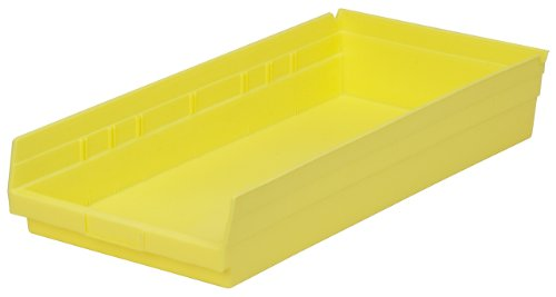 Akro-Mils 30174 24-Inch by 11-Inch by 4-Inch Plastic Nesting Shelf Bin Box, Yellow, Case of 6