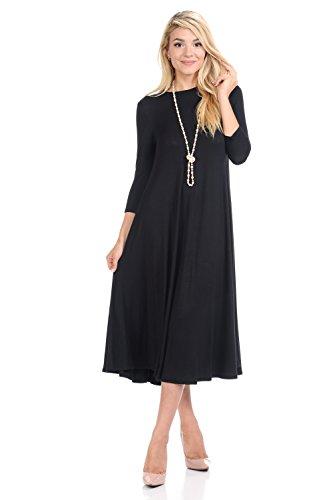 iconic luxe Women's A-Line Swing Trapeze Midi Dress Large Black ()
