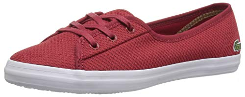 Lacoste Women's Ziane Chunky Sneaker, red/White Textile, 9 Medium US