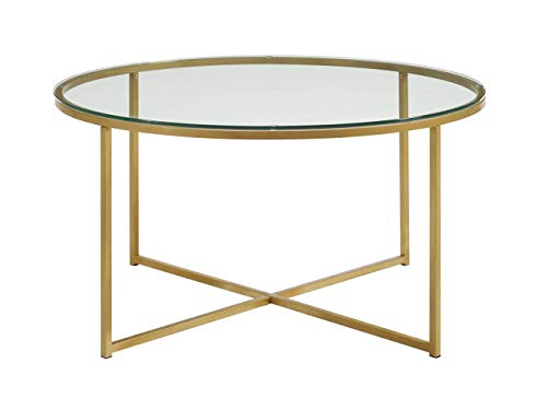 WE Furniture 36″ Coffee Table with X-Base – Glass/Gold