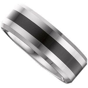 Jewelplus 8.3mm Dura Tungsten® Flat Band with Black Enamel Tungsten 8