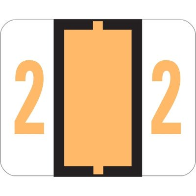 Smead SMD67372 Single Digit End Tab Labels, Number 2, Light Orange-On-White, 500, White