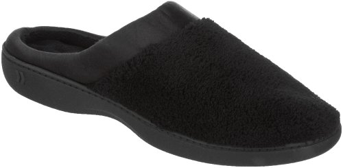isotoner-womens-microterry-pillowstep-satin-cuff-clog-slippers-black-85-9-bm-us