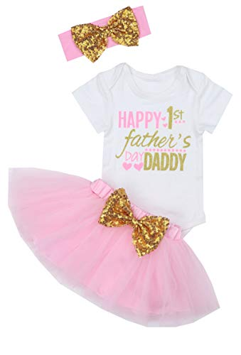 Happy 1st Fathers Day Baby Girl Outfit Letter Print Rompers+Tutu Dresses +Headband 3PCS Skirt Set 0-3 Months Pink]()