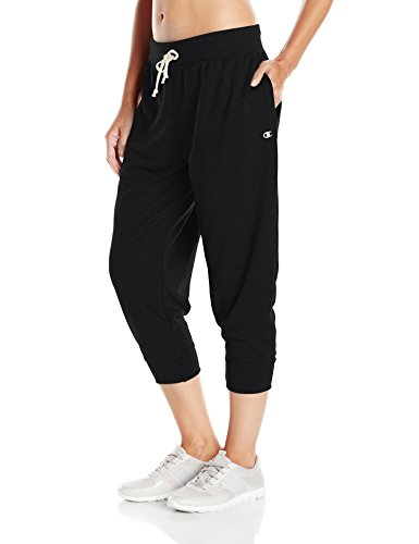 Champion Women's French Terry Jogger Capri, Black, XL