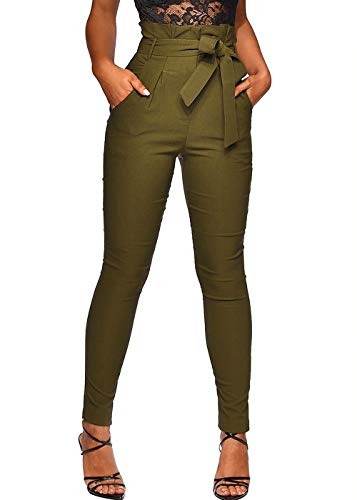 (Ohvera Women's All Occasions Frilled Pants Trousers with Waist Tie Pockets Army Green Small )