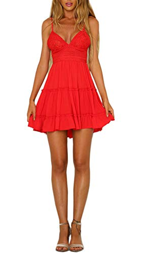 Women Summer Spaghetti Strap V Neck Backless Knot Lace Club Party Mini Skater Dress Red S