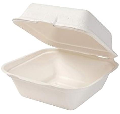 BIOZOYG Caja de caña de azúcar desechable Bio Burger-Box Biodegradable I Burger-Box de bagazo compostables 500 ml Plegable con Tapa Caja 16x16 cm I 500x Burger-Box Cuadrada Blanco: Amazon.es: Hogar