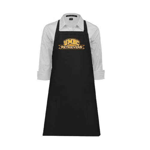 CollegeFanGear UMBC Full Length Black Apron 'Arched UMBC Retrievers'