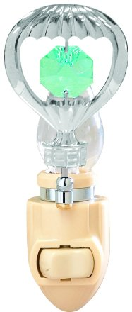 Chrome Plated Hot Air Ballon Night Light with Green Swarovski Element Crystals by Crystal Delight by Mascot