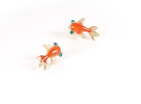 New Under the Sea Orange Carp Koi Gold Fish Goldfish Stud Earrings