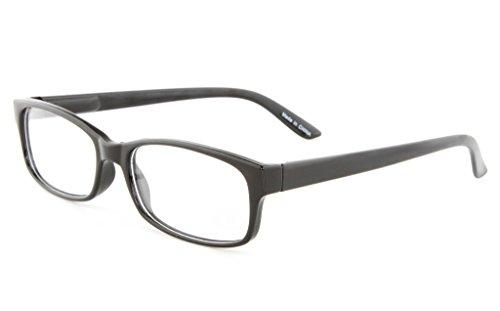 Retro Horned Rim Retro Classic Nerd Glasses Clear Lens (Thin Black, Clear)