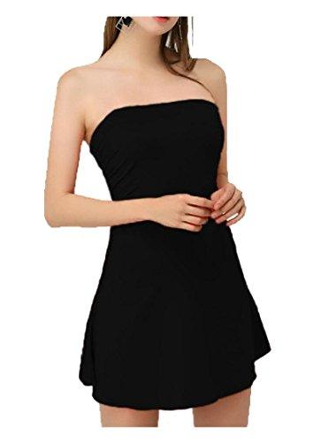 Patineur Partie Du Tube Alion Été Sans Bretelles De Femmes Flare Couleur Soild Robe Noire