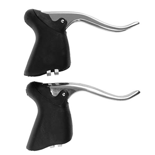 (Prettyia 1 Pair Road Bike Drop Bar Brake Levers Bicycle Brake Handle Fixed Gear/Road Cycling 22.2-23.8mm Bent Handlebar)