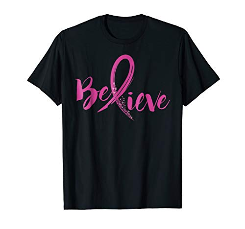 Mens Believe - Women Breast Cancer Awareness Fight T-Shirt Large Black