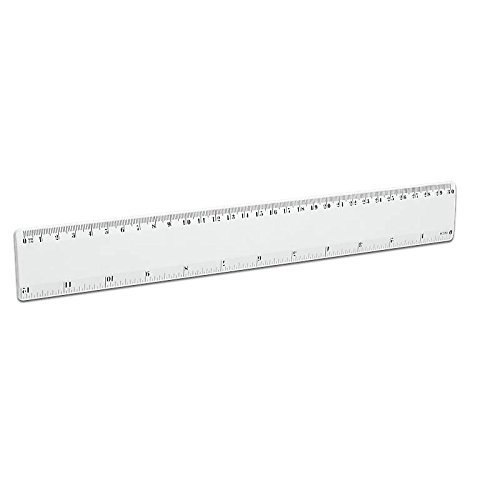 Righello 30 cm, bianco, Graduazione in cm, Personalizzabile (FAN UNIKATE powered by CRISTALICA) FU00126