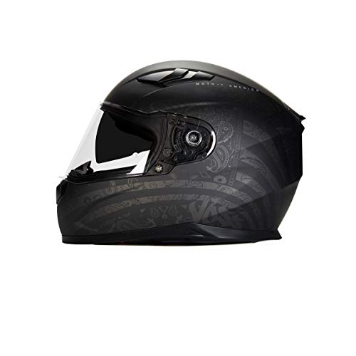 Voss 988 Moto-1 Full Face Helmet America Boneyard edition. Internal Eyeshade Quick Release DOT/ECE - Large - Flat Two Tone Black