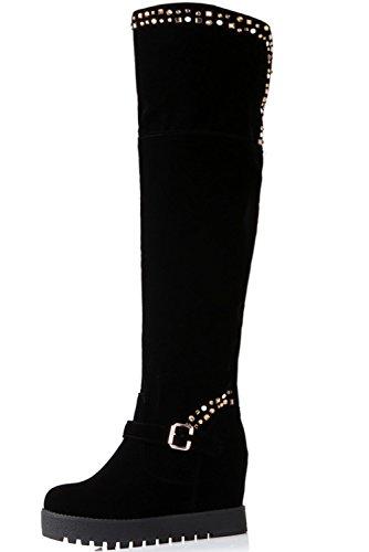 Hiver Augmenté BIGTREE Strass Hautes de Genou Compensées Noir Chaud Plateforme Bottes De Brillant Bottes Femmes Noir E6AqBnY
