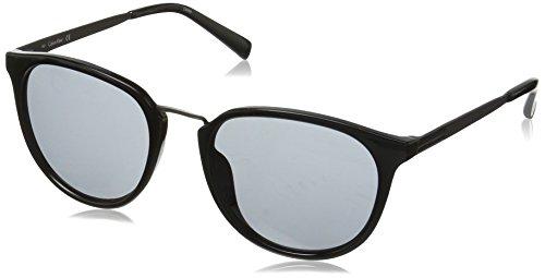 Calvin Klein R366S Round Sunglasses, Black/Silver, 51 (Calvin Klein Plastic Frames)