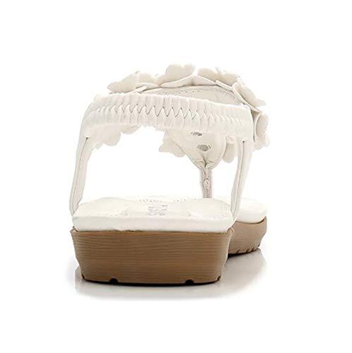 Chaussures Shangxian De Plates Fête 36 Cool black Strass Décoration Sandale Confortable Plage Boho White Tongs Et Fleur Vacances Été Femmes g6zwgqp84