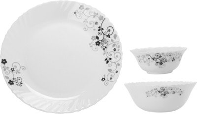 Diva Classique Mystrio Dinner Set, 33-Pieces, White/Black (CLSQ/DSET/A49)