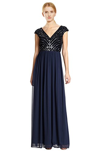 Aidan Mattox Glamorous Intricate Beadwork Billowy Chiffon Long Gown Dress