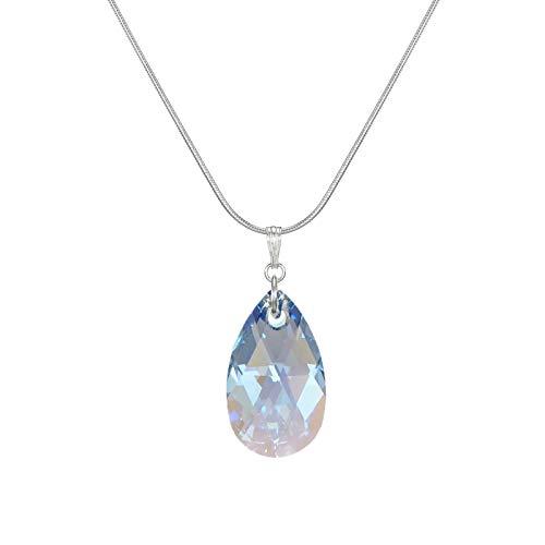 Swarovski Crystal Sapphire Blue Aurora Borealis Teardrop Sterling Silver Snake Chain Necklace