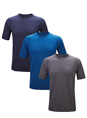 Little Beauty Men's Quick-Dri Fit Performance Short Sleeve Crew Athletic T-Shirts 3 Pack Navy Dark Grey Royal Blue 3XL