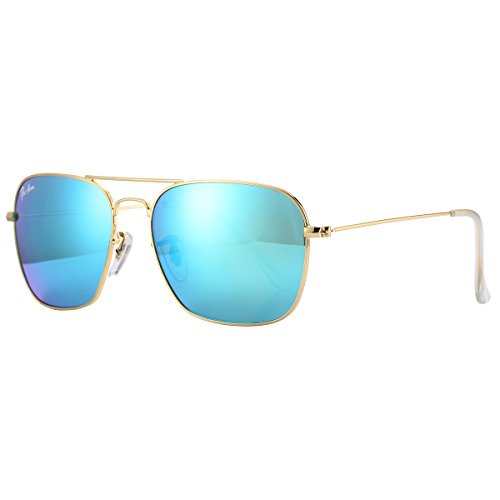 Pro Acme PA3136 Crystal Lens Square Caravan Sunglasses (Gold Frame/Crystal Green Mirrored - Online Test Sunglasses