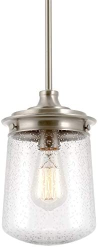 Kira Home Mason 10.5 Industrial Pendant Light, Seeded Glass Shade Brushed Nickel Finish