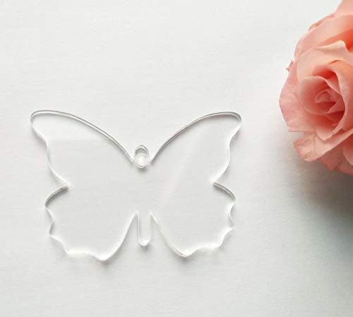 15PCS of Blank Clear Acrylic Butterfly Key Chains Easter Party Gift Laser Cut (3