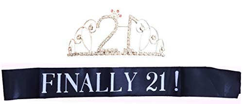 21 Birthday Sash and Crown - Set of 2 Finally 21 Sash and Tiara for the 21st Birthday Girl -