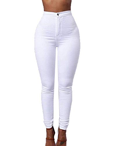 Blanco Del Vaqueros Ocasionales Casuales Las Delgados Estiran Pantalones Lápiz De Bolsillos Sólido Los Botón Mujeres Color Polainas Con Alta Cintura FvHTq