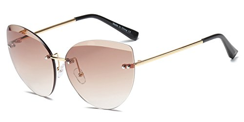 Cramilo Fashion Designer Rimless Colored Oversize Round Cat Eye Sunglasses for - Trendy Sunglasses Cheap