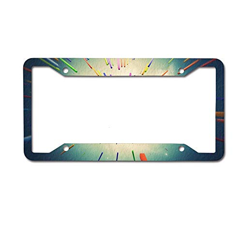 SDGlicenseplateframeIUY Colored Stripes Gathered Together Custom License Plate Frame Sublimation Printed 4 Holes