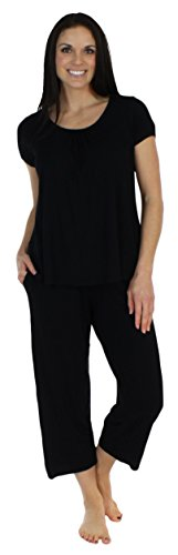 ear Bamboo Jersey Short Sleeve Top and Capri Pajama Set, Solid Black (BSBJ1830-1011-LRG) ()