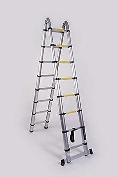 WORHAN/® 4.4m TELESKOPLEITER 2 in 1 ANLEGELEITER KLAPPLEITER ALU TELESKOP LEITER MULTIFUNKTTIONS LEITER 440cm K4.4B