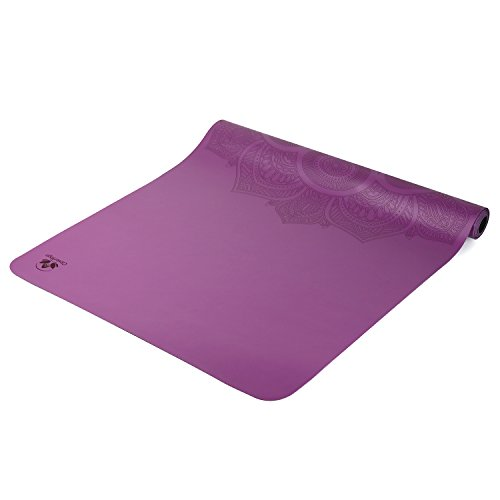 Clever Yoga Premium LiquidBalance Travel Mat Eco and Body Friendly Sweat Grip Non-Slip With Carrying Yoga Bag (Purple)