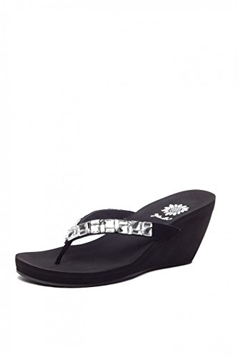 Adara Shoe (Yellow Box Women's Adara Flip Flop, Black/Clear, 6 M US)